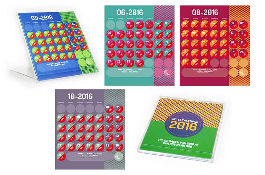 Kalender 2016 die aftelt naar 2017, ontwerp Willeke Vrij