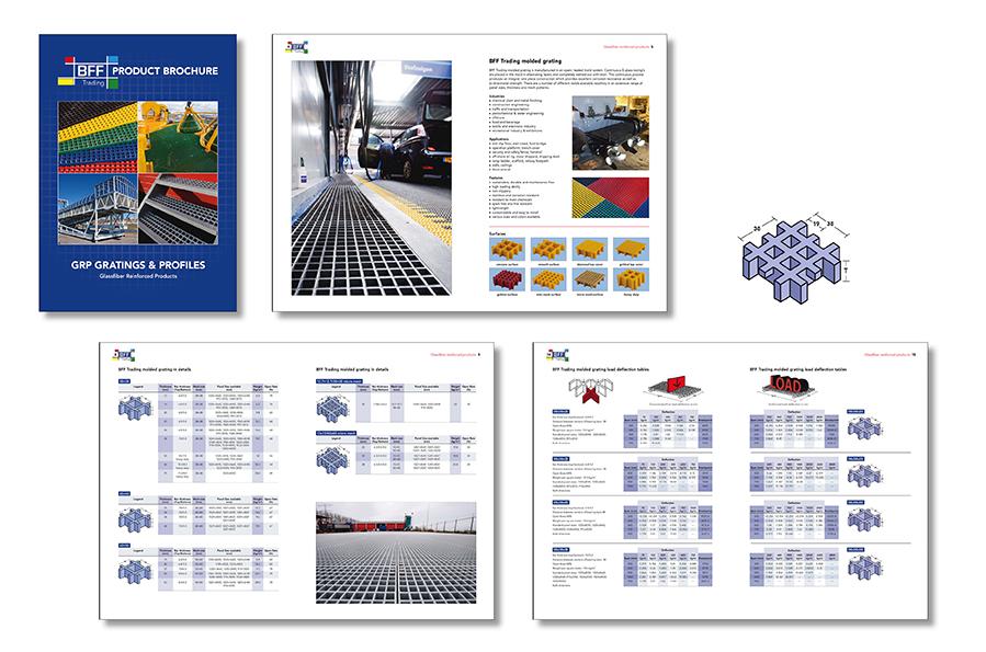 A4 brochure met technische informatie over de producten van BFFtrading ontworpen door Willeke Vrij Vormgeving