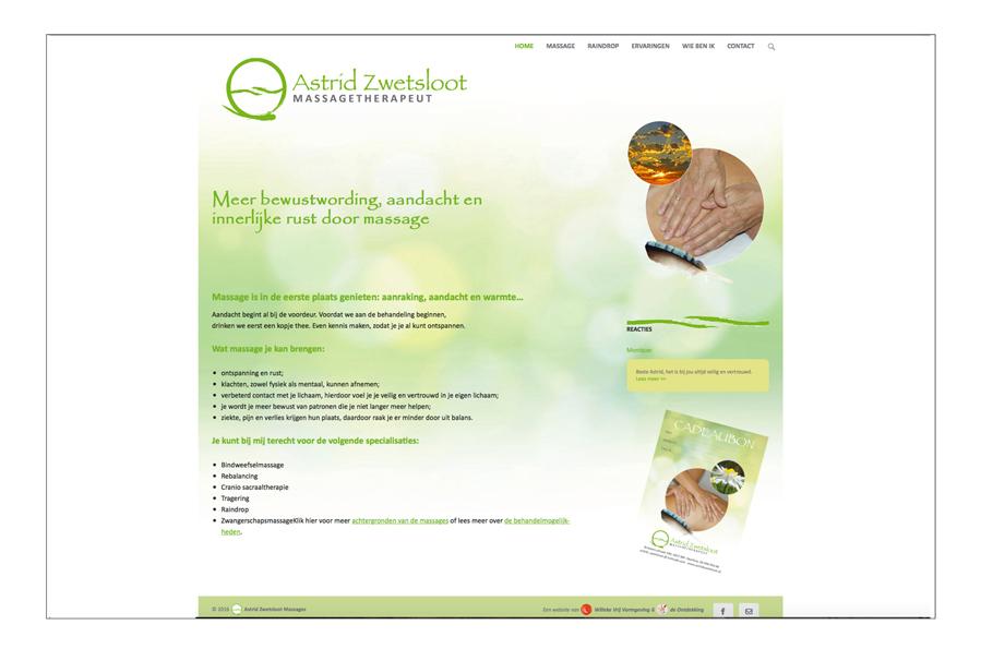 Website Astrid Zwetsloot ontwerp Willeke Vrij Vormgeving