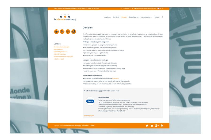 Website De Informatie Maatschappij ontwerp Willeke Vrij Vormgeving