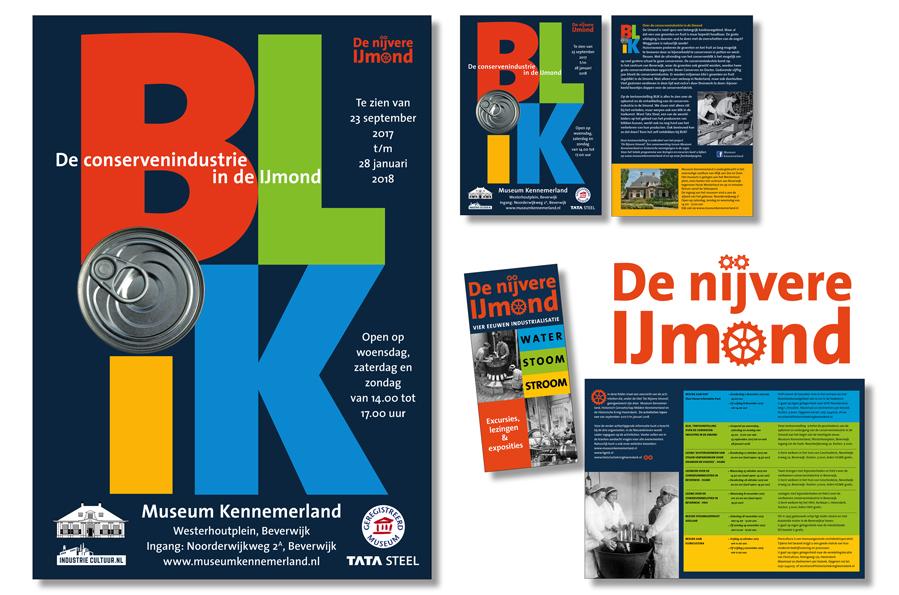 Posters en flyer bij expositie Blik, onderdeel van De Nijvere IJmond, waarvoor Willeke Vrij Vormgeving ook het logo en de folder maakte