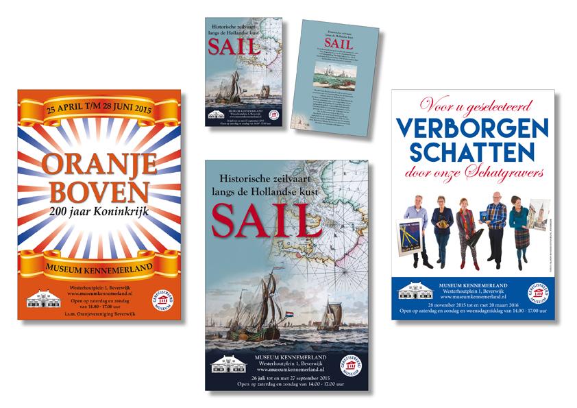 3 posters en flyers voor Museum Kennemerland in Beverwijk gemaakt in 2015 en 2016 door Willeke Vrij Vormgeving