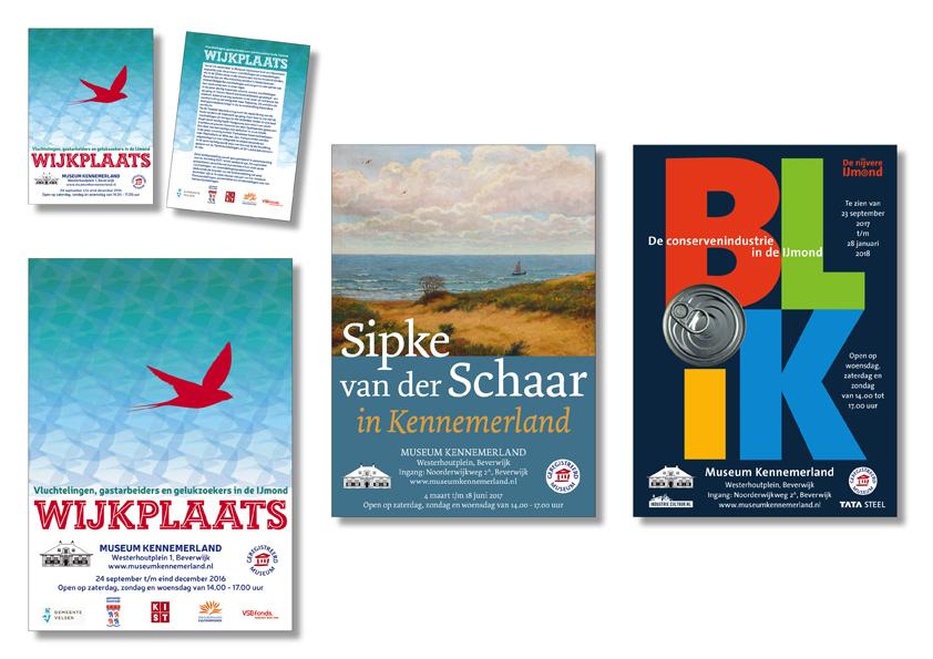 3 posters en flyers voor Museum Kennemerland in Beverwijk gemaakt in 2016 en 2017 door Willeke Vrij Vormgeving