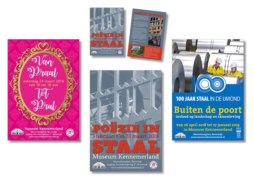 3 posters en flyers voor Museum Kennemerland in Beverwijk gemaakt in 2018 door Willeke Vrij Vormgeving