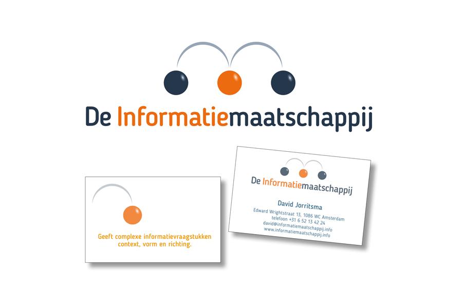 Logo en visitekaartjes van De Informatiemaatschappij door Willeke Vrij Vormgeving