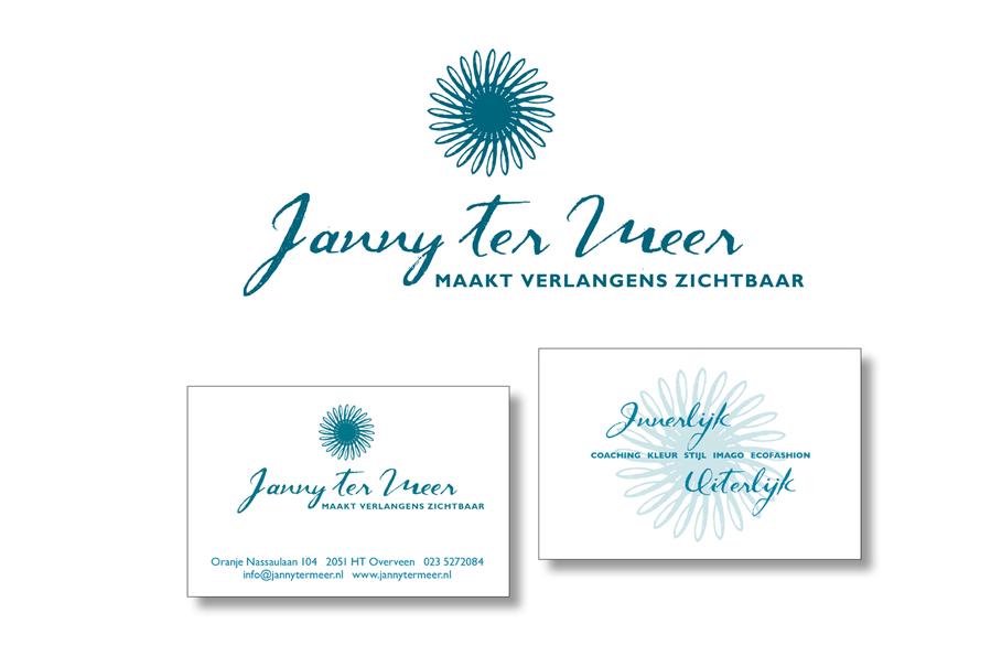 logo en visitekaartje Janny ter Meer ontwerp van Willeke Vrij Vormgeving