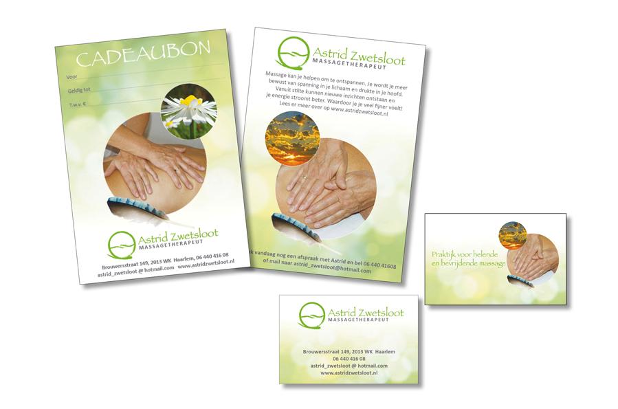 A6-cadeaubon, A6-flyer en visitekaartjes voor massagetherapeut door Willeke Vrij Vormgeving