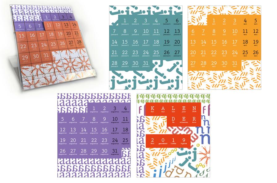 Kalender 2019 ontwerp van Willeke Vrij Vormgeving