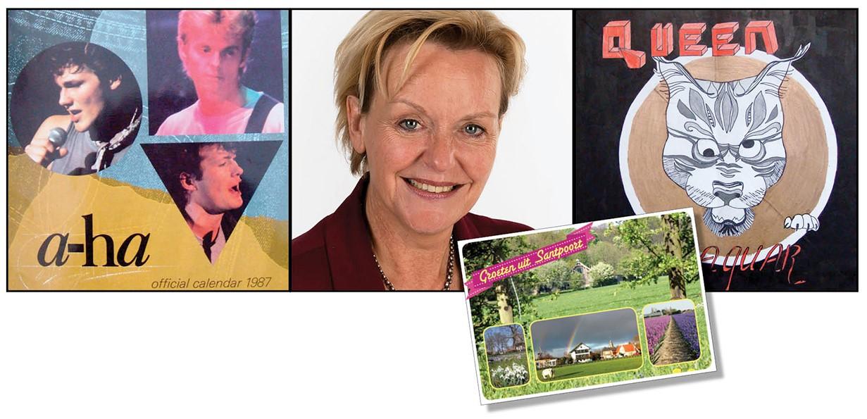 Tekening LP-hoes Queen Aha-kalender Foto van Willeke Vrij Ansichtkaart van Santpoort Noord