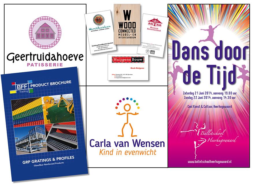 grafische ontwerpen van Willeke Vrij Vormgeving Santpoort Noord, zoals diverse visitekaartjes, logo's van De Geertruidahoeve en Carla van Wensen en een poster voor Balletschool Heerhugowaard