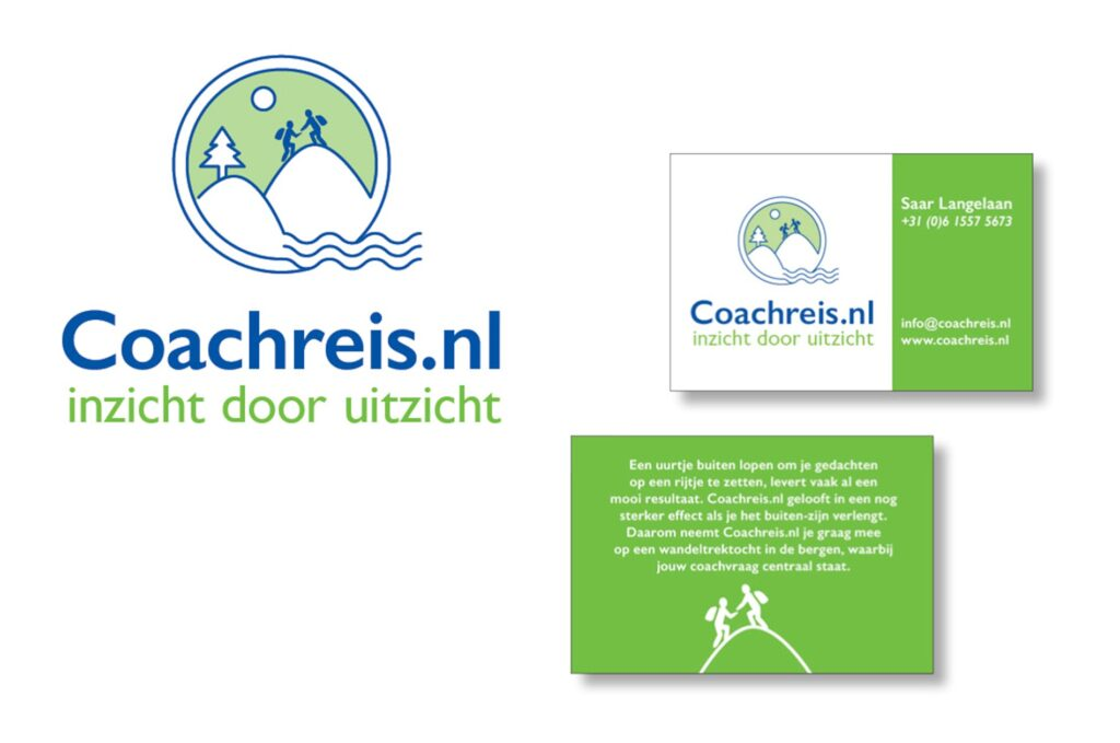 willeke vrij vormgeving ontworpen logo en visitekaartje voor coachreis.nl