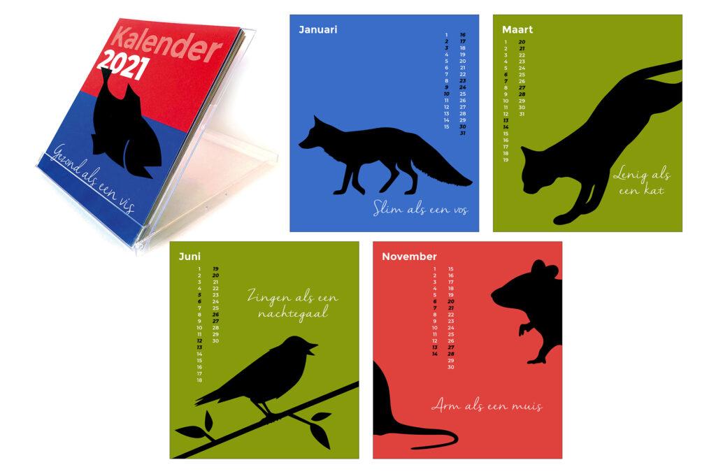 kalender 2021 voorzien van dieren en tekst gemaakt door Willeke Vrij Vormgeving